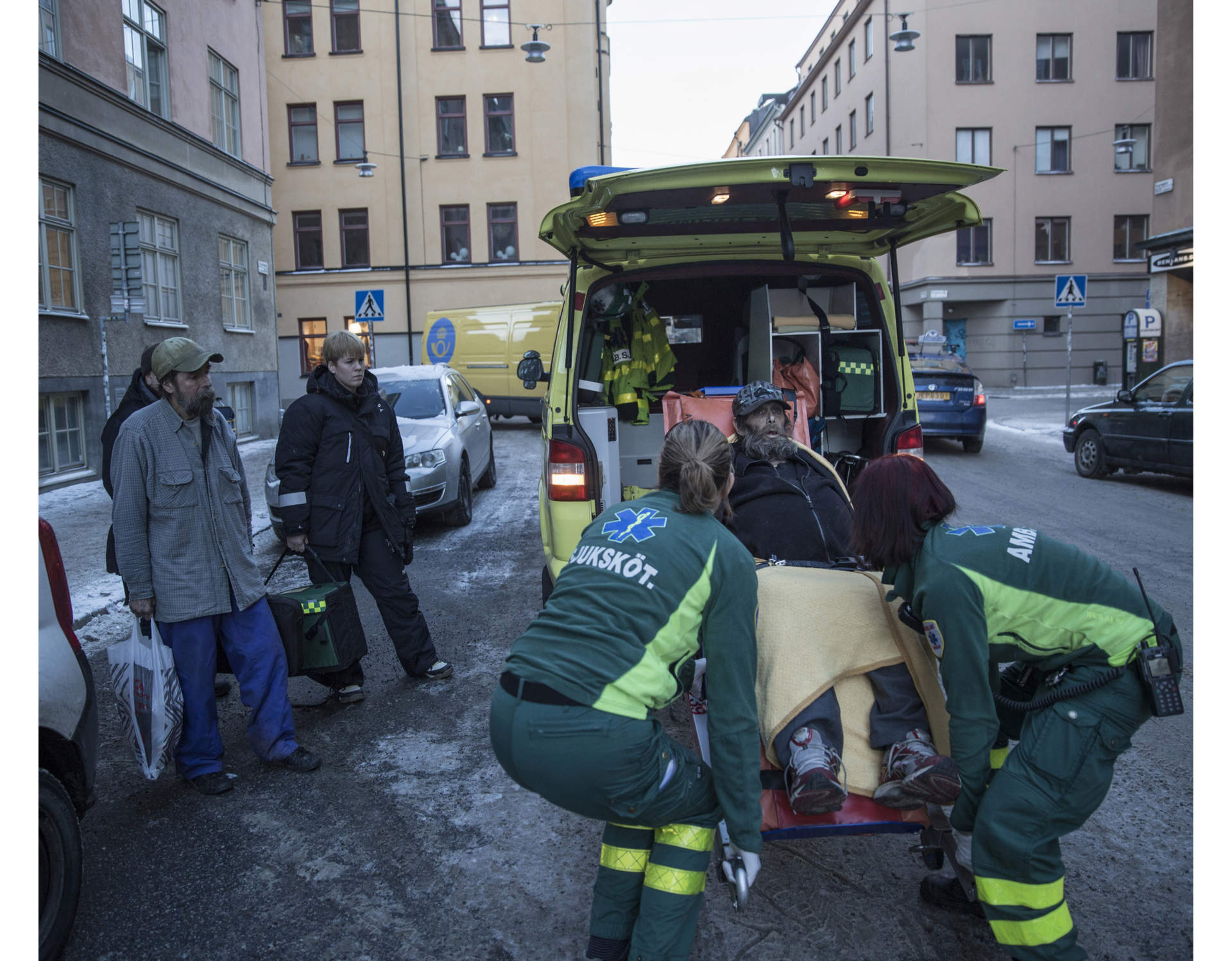 Matte calls an ambulance for Pekka to get him to the hospital. Pekka is so tired and sick that he can barely stand up.